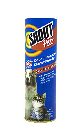 Shout for Pets Stains Turbo Oxy Carpet Odor Eliminator Powder | Carpet Cleaner Powder in Fresh Scent, 20 Ounces (FF4253)
