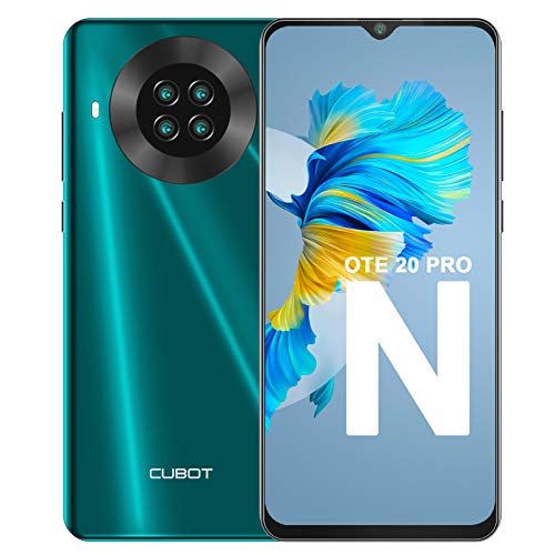 Teléfono Móvil Libre, CUBOT Note 20 Pro Smartphone 4G Android 10.0 Dual SIM 6,5 Pulgadas 6GB RAM+128GB ROM 4200mAh Cámara cuádruple de 20MP Face ID, NFC, GPS WiFi, Helio P60, Octa-Core, Verde
