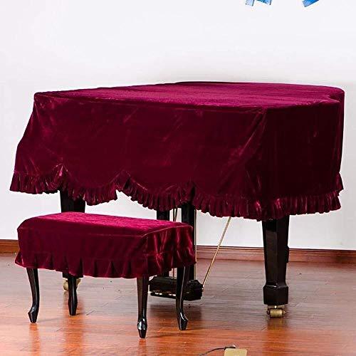 Grand Piano Cover, Classic Premium Samt Möbel Staubschutz Handgemachte Plissee Trim Standard-Klavier-Abdeckung Hauptdekoration, (Verschiedene Größen) ( Color : Red , Size : 150cm+Double Stool )