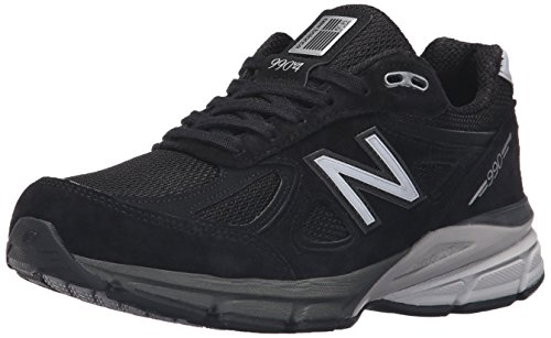 New Balance Women's Made 990 V4 Sneaker, Black/Silver, 5 M US