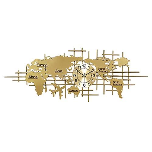 shandianniao Muro Clockwork Big Modern, Reloj silencioso de acrílico 3D, Reloj de Pared Creativo Personalidad Moda Mapa atmosférica Reloj de Mapa, Decoración del hogar Reloj de Pared (Color : Gold)