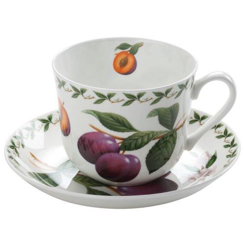 Maxwell & Williams PB8104 Orchard Fruits Frühstückstasse, Kaffeetasse mit Untertasse, Motiv: Pflaume, in Geschenkbox, Porzellan
