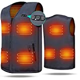 ARRIS Heated Vest 7 Heating Pads Men Women Size Adjustable Electric Heating Clothing for Hiking, Camping, Fishing, Motorcycling with 7.4V Battery