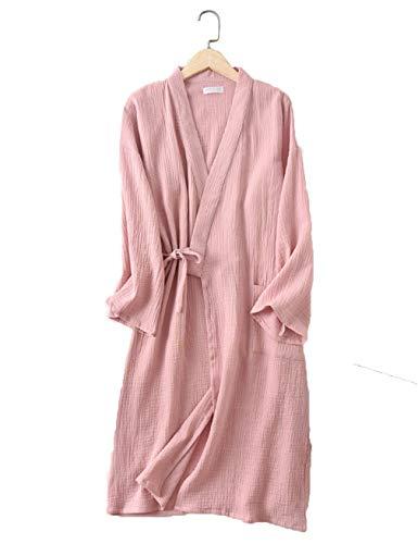 MAYIMY Hombres y mujeres parejas crepe gasa textura lavada kimono vestido de noche albornoz absorbente servicio a domicilio transpirable