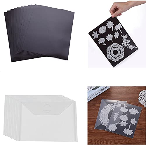 Briartw 10 Pack Sturdy Clear Plastic Envelope Storage Pockets & 10Pack Rubber Soft Magnet Sheet for Cutting Dies Stencil Crafting Die Cuts Stamps Storage Sets Great for Stamper Crafter Porjects