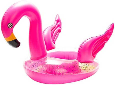 CY2SIDE 1PC Inflatable Flamingo Pool Float Pink Flamingo Inflatable Swimming Ring Sequined Seat product image