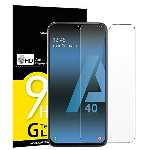 NEW'C 3 Unidades, Protector de Pantalla para Samsung Galaxy A40, Antiarañazos, Antihuellas, Sin Burbujas, Dureza 9H, 0.33 mm Ultra Transparente, Vidrio Templado Ultra Resistente