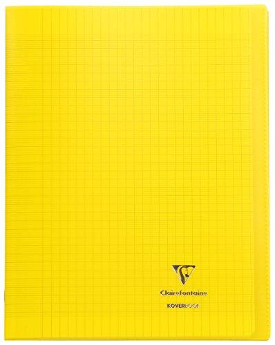 Clairefontaine 984406C - Un cahier piqué Koverbook 48 pages 24x32 cm 90g grands carreaux, couverture polypro (plastique) transparente, Jaune