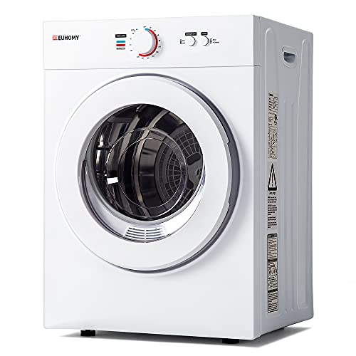 Euhomy Compact Laundry Dryer 1.8 cu.ft, Stainless Steel Clothes Dryers With Exhaust Pipe, Four-Function Portable Dryer For Apartments, Home, Dorm, White