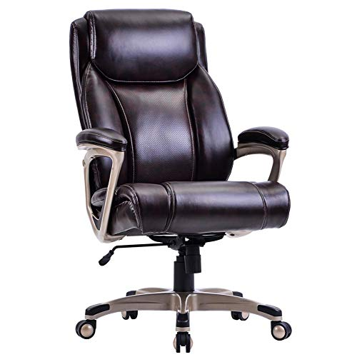 Home Office High-Back PU Leather Chair with Casters, Swivel, Adjustable Office Desk Chair, Thick Padding for Comfort