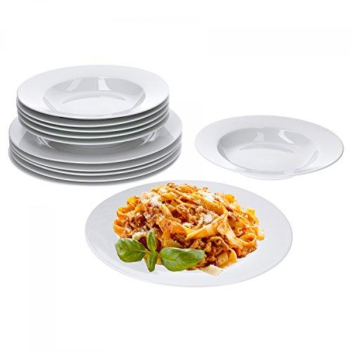 Van Well Trend 12-TLG. Tafelservice weiß für 6 Personen, Speiseteller + Suppenteller