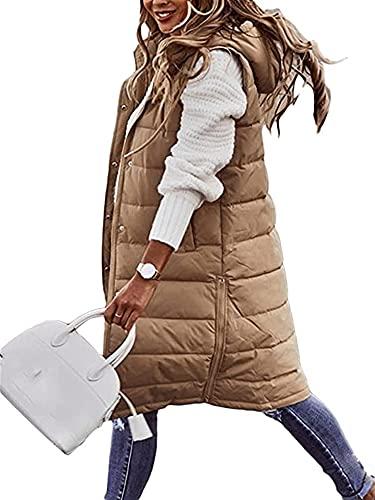 SKYWPOJU Kamizelka puchowa damska długi płaszcz zimowy kamizelka z kapturem kamizelka płaszcz bez rękawów ciepły płaszcz puchowy z kieszeniami pikowana kamizelka damska kurtka puchowa pikowana kurtka