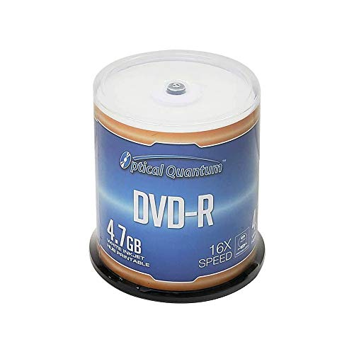 Optical Quantum DVDR 47GB 16X White Inkjet Printable Hub Printable  100pk Cake Box FFB