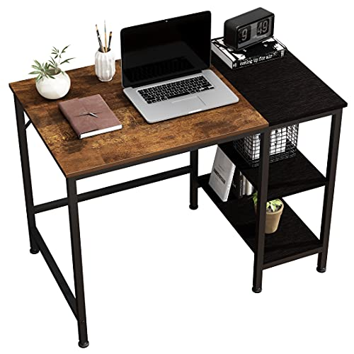 JOISCOPE Computertisch, Schreibtische, Latop-Tisch, Studiertisch mit Holzregalen, Am Arbeitsplätze Verwendet, 100 x 60 x 75 cm (Eiche Vintage Finish)