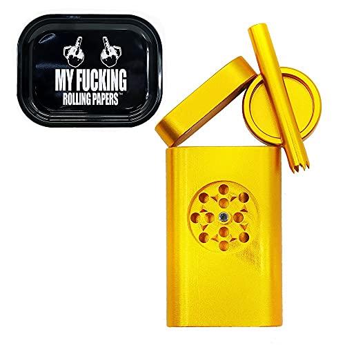 GYQCP Pipa De Fumar,Mini Juego Molinillo Tabaco Metal Portátil Tabac Pitillera Pipas Fumar Marihuana Molinillo Giratorio Bandeja Enrollable Metal Cannabis Fumar Reutilizable