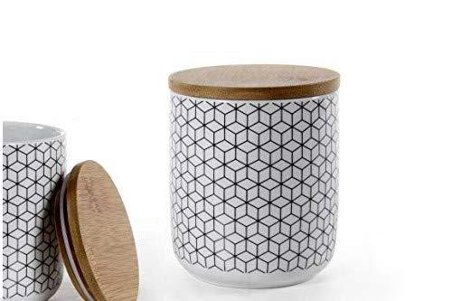 GICOS IMPORT EXPORT SRL Tarro galleta contenedor de porcelana 10 x 12 cm decorado con tapón de madera ELA-780790