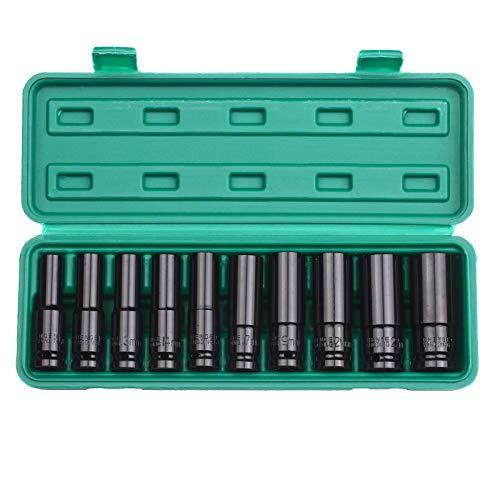 Skyeen Juego de llaves de vaso de impacto de 6 puntos con accionamiento de 1/2 pulgada, tamaños métricos de 10 piezas, acero al carbono de 10-24 mm con caja de almacenamiento rígida