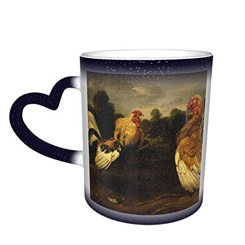 Gallo, pavo, pelea de gallos, cielo estrellado, café mágico que cambia de color, taza de cerámica, un regalo novedoso e interesante, un regalo para el día de San Valentín, 11 oz