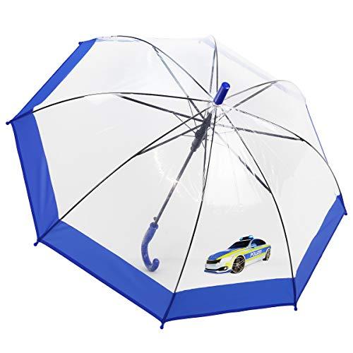 Dr. Neuser Kinder Regenschirm Stockschirm Schirm Kinderschirm Transparent 103 HF, Farbe:Polizei