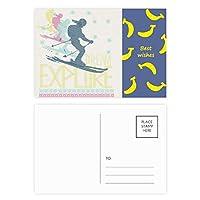 カラフルなスキー冬のスポーツのイラスト バナナのポストカードセットサンクスカード郵送側20個