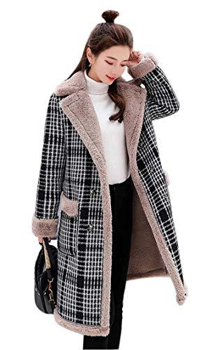 Uni-Wert Damen Mantel Kariert Lange Trenchcoat Elegant Wollmantel Langarm Revers Frauen Windjacke Herbst Winter Jacke Outwear Streifen Windbreaker Slim Fit Fleece Mantel