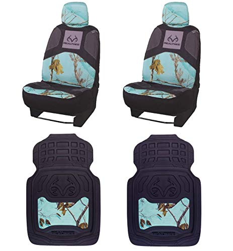 Realtree 4pc Camo Auto Accessories Kit, Realtree Timber, Xtra and Mint Camo - Includes 2 Universal Front Seat Covers and 2 Front Floor Mats (4-pc Seat Cover Package) (Realtree Mint)