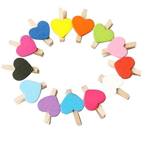 Chytaii - Wäscheklammern aus Naturholz, Foto-, Papier-Klips, Wäsche, Mini mit Herzdeko, niedlich, mehrfarbig, Dekoration für Zuhause, zum Basteln, 50 Stück