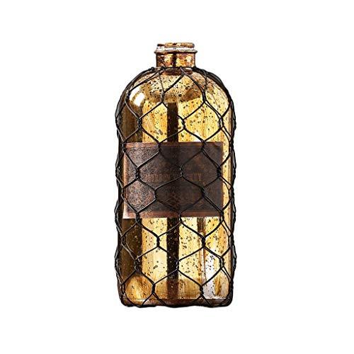 Creatieve Industriële En Mijnbouw Retro Metalen Glas Vaas Goud Desktop Handgemaakte Vaas Bar Venster Display Zacht Glas Art Ambachten