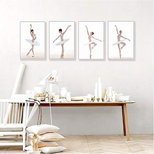 Modernos Diferentes Movimientos de Bailarina de Ballet Blanco Foto Arte Impresiones Cartel Pared Imagen Lienzo Pintura Bailarina decoración del hogar 30x40x4 sin Marco
