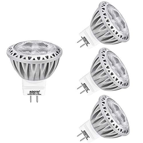 AGOTD GU4 MR11 12V Led Lampen Warmweiß, 35mm Durchmesser und 38mmHöhe, 3W Leuchtmittel ersetzt 20W 30W 35W Halogenlampen, 250lm, 4er Pack