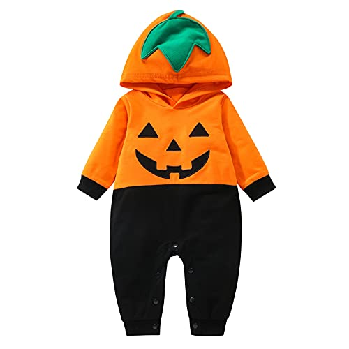 Dasongff Déguisement à Capuche Bébé Garçons Citrouille Barboteuse Halloween Costume, Nouveau-né bébé Tenue Tenue Citrouille à Capuche Barboteuse Combinaison Une pièce Combinaiso