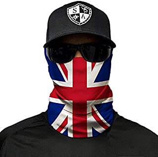 SA Company Face Shield Micro Fiber Protect from Wind, Dirt and Bugs. Worn as a Balaclava, Neck Gaiter & Head Band for Hunting, Fishing, Boating, Cycling, Paintball and Salt Lovers. - Union Jack