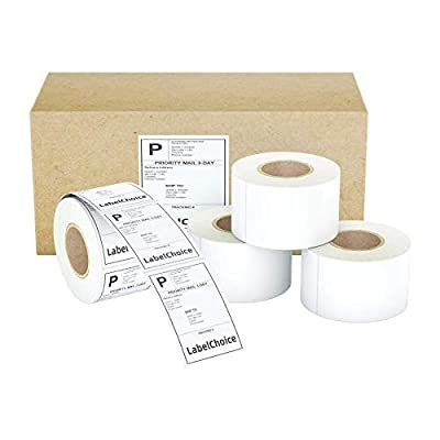 """LabelChoice 4 Rolls 4x6 inch Direct Thermal Labels, for 3"""" Core Industrial Printers (1000 Labels/Roll,Total 4000Labels)"""