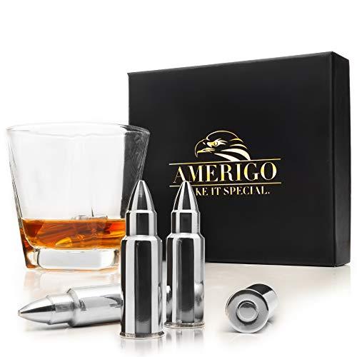 Esclusivo Whisky Stones Bullet Set di Regalo in Acciaio Inox - 6 Cubetti di Ghiaccio a Forma di Proiettile per Il Whiskey Riutilizzabili - Pietre da Whisky - Cubetti Refrigeranti + Barman Pinze