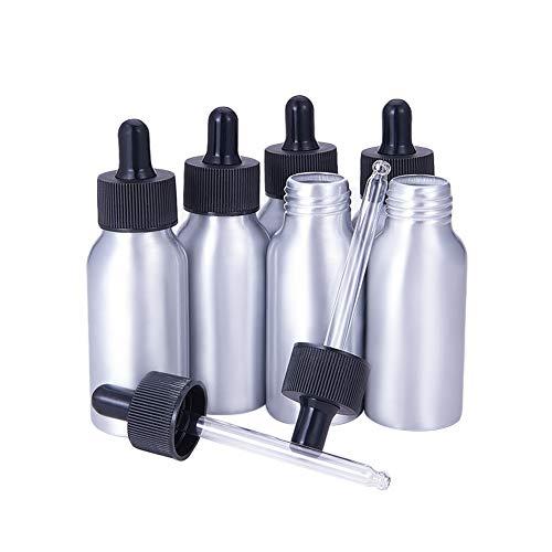 PandaHall 6 PCS 50ml Botellas cuentagotas de Vidrio recubiertas de Negro Resistente a los Rayos UV, Botellas UV seguras para aceites Esenciales y aromaterapia