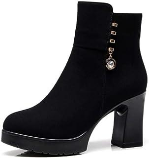 ZY&FC Zapatos de tacón alto botas cortas de tacón alto con plataforma de Martin botas esmeriladas de mujer