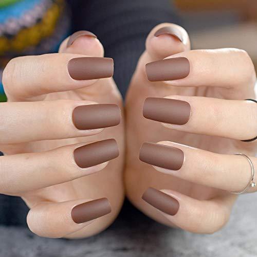 CSCH Faux ongles Café mat brun carré tête faux ongles mi-long pleine couverture faux ongles acrylique ongles conseils Fuax Ongles doigt Art