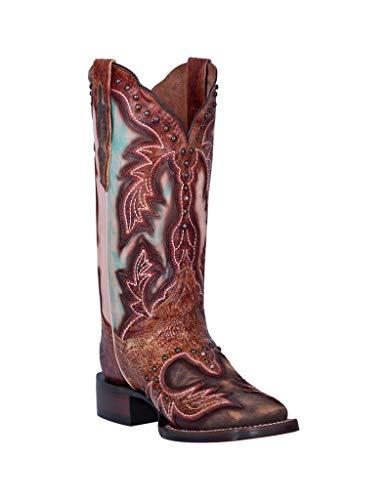 Dan Post Womens Tan/Multi Cowboy Boots Leather Square Toe 9.5 M