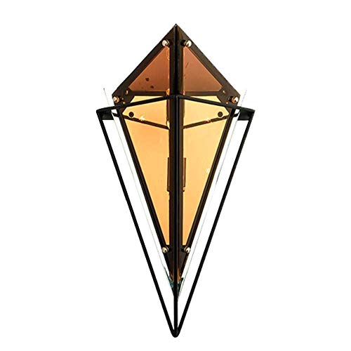WEM Novedad Lámpara de pared, Lámparas de pared posmodernas Vidrio de coñac y lámparas de pared de mástil de metal negro Housefoyer Hall Deco Led G9 Enchufe de lámpara 1 lámpara