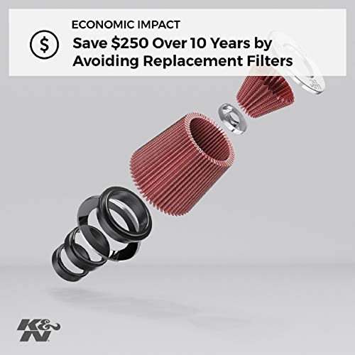 K&N Universal Clamp-On Air Filter: High Performance, Premium, Replacement Engine Filter: Flange Diameter: 1.9375 In, Filter Height: 3 In, Flange Length: 0.625 In, Shape: Round Tapered, RC-1060