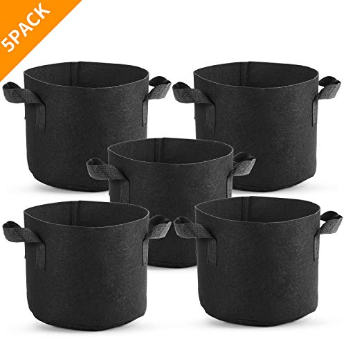 TELENT OUTDOORS Grow Bags5 Pack 3 Gallon, Portable Nonwoven Fabric Pots Plant Grow Bagswith Handles, ReusableGrow Bags