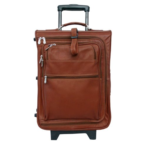 Piel Leather 19 Inch Multi-Pocket Wheeler, Saddle, One Size