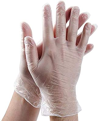 Vinyl Examination Gloves (100-Count) Latex Free Rubber | Disposable, Ultra-Strong, Clear | Fluid, Blood, Exam, Healthcare, Food Handling Use | No Powder -Medium