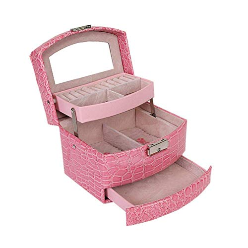Caja de joyería 3 Caja de almacenamiento de regalo de 3 capas Joyería de cuero PU Viaje portátil de Oganizador con espejo y manija Organizador para pulseras Anillos Collares Broches 15.5 * 13 * 12 cm