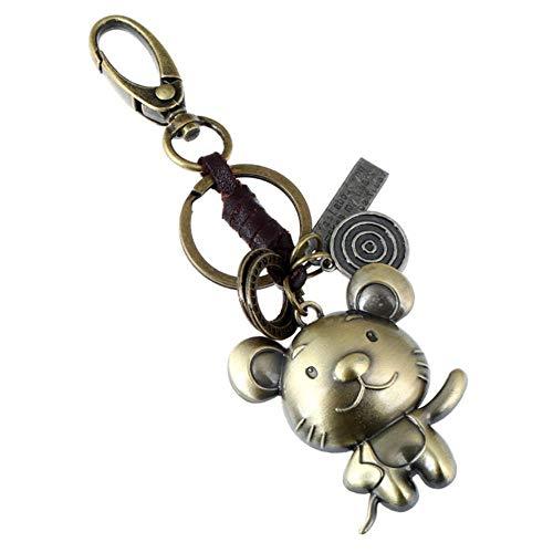 RANJN Zwölf Sternbilder Schlüsselbund Lederlegierung Chinese Zodiac Key Chain Schlüsselanhänger, Maus