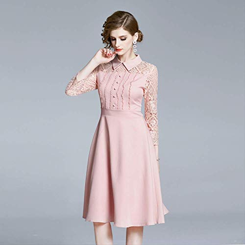 QUNLIANYI Pink Fit und Flare Sommerkleid Frauen Handgelenk Ärmel Spitze Patchwork A-Linie Sweet Button Trim Damenkleid XXL