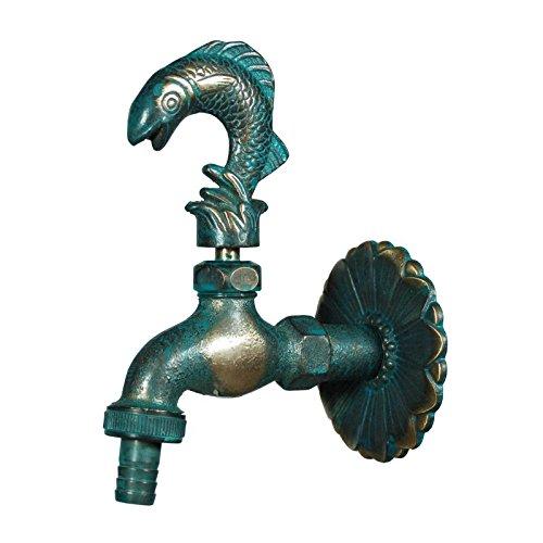 Caleido-Concept Nostalgie Wasserhahn Auslaufventil Messing, patiniert, Fisch