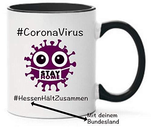 Lila Corona Virus Hessen hält zusammen #stayhome Geschenk Tasse beidseitig Bedruckt Spülmaschinenfest Kaffeetasse Bundesland individuell
