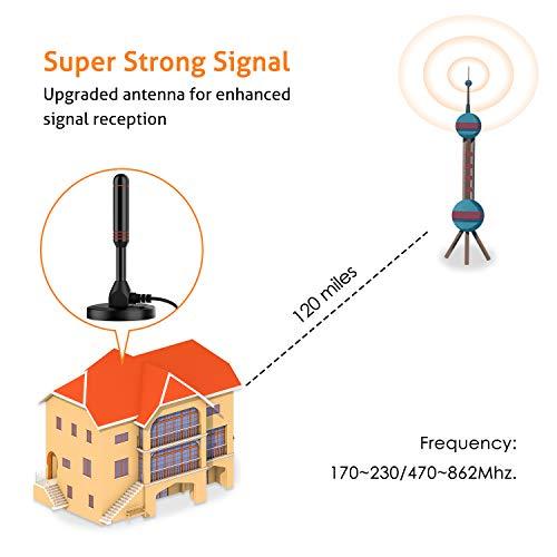Bqeel Antenne Tige Numérique, Gain de rayonnement de 30 DB, Antenne TV Puissante DVB-T/DTMB, Antenne TNT Portable Puissante avec Pied Magnétique Stable et Câble de 4 mètres
