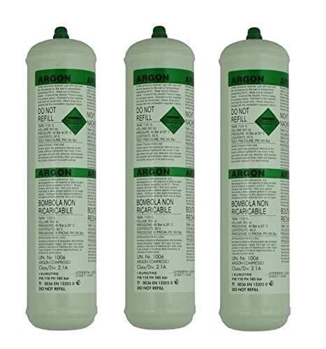 SWP - Botella de soldadura de gas argón desechable, 390 g, 60 l x 3